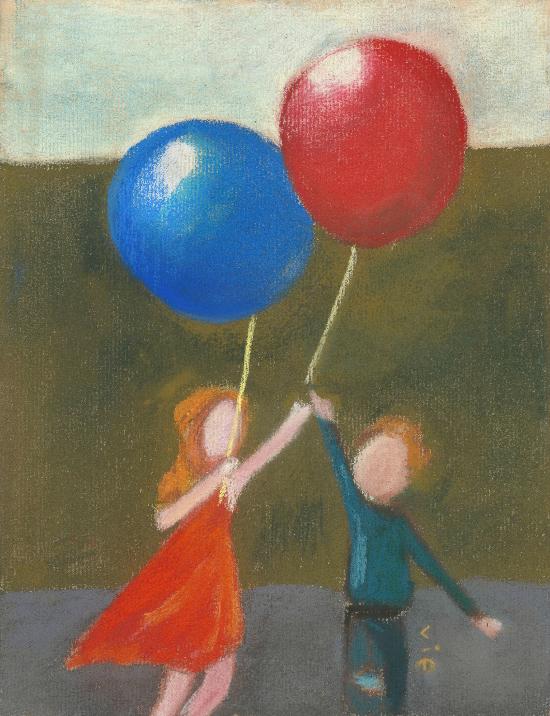 ballon bleu et ballon rouge