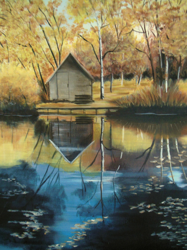 Cabin in the birches by Janet Glatz